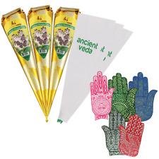 Henna Hand Tattoo Kit with 3 Henna Cones, 3 Applicators, and 5 Mehandi Stencils