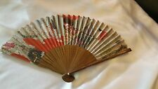 Vintage Hand Held OFF WHITE WITH GEISHA IN KIMONO STORY Silk Bamboo Folding FAN
