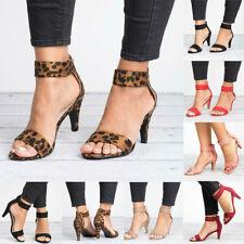 Women's Kitten Mid Heels Summer Ankle Strap Sandals Zipper Casual Shoes Peep Toe