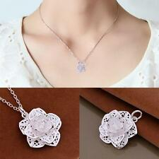 Heart Women Silver Plated Chain Necklace Flower Pendant