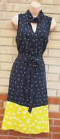 TU BLACK WHITE LIME SPOTTED POLKA DOT SLEEVELESS BELTED A LINE MIDI DRESS 14 L