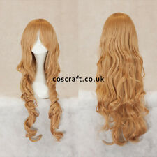 Rouleau long ondulés bouclés cosplay perruque de caramel blonde, vendeur britannique, style Jeri
