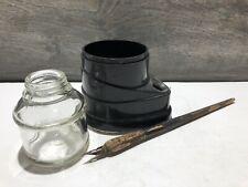 Vintage Ink Well Faber Wood Ink Dip Pen Art Deco Glass Ink Bottle