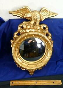 Vintage Gilt Syroco Federal Eagle Wall Hanging w/ Mirror Round Convex Glass !!