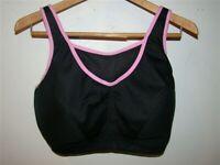 NEW Glamorise 40C No Bounce Cami Sports Bra 1066 Black Pink #48079