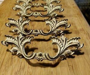 Set of 6 Vintage Ornate Solid Brass & White Dresser Drawer Handles Pulls Shabby