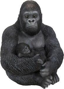 Vivid Arts Sitting Gorilla Holding Baby Home or Garden Ornament (XRL-GMB1-D)