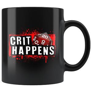 Crit Happens Mug - Funny DND D&D DM D20 Dice Coffee Cup