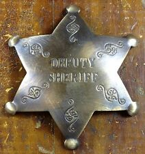 Deputy Sheriff 6 Point Star Shaped Antique Brass Pinback Old West Style Badge