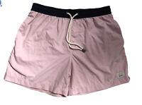ARVUST Men Board Shorts Beach Casual Draw String Waist Light Pink/ Black Size 32