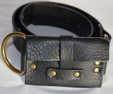 Deena & Ozzy Wide Pocket Belt Money Card Wallet Women S/P Black PU Leather Studs