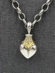 "Lagos $2,950 Sterling Silver 18K Gold DIAMOND Pave Heart Pendant 18"" Lagos Chain"