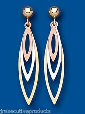 Rose Gold White Gold Yellow Gold Earrings Three Colour Gold Drops Dangle