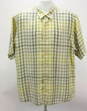Tommy Bahama Mens Size XL 100% Linen Shirt Green Yellow Plaid Short Sleeve Relax