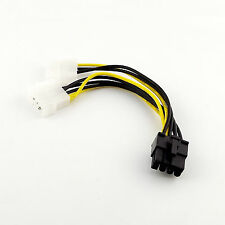 8 Pin PCI-E Express to 2x4 Pin Molex IDE Video Card Splitter Power Adapter Cable
