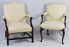 Pair of Mahogany Chippendale  Style Chairs White Damask Fabric Williamsburg Look
