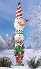 Whimsical Christmas Winter Snowman with Sparkly Glittered Finish Yard Stake