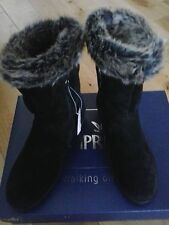 CAPRICE 100% LEATHER SHEEPSKIN BOOTS 9-26459-21 BLACK SUEDE, UK 6/39