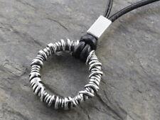 N341 Leder Halskette Anhänger Herren Necklace Pendant Ring Donut Vintage Boho