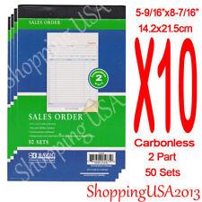 10 Sales Order Carbonless Receipt Invoice List Books 50 Set 2 Parts Green
