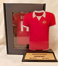 GEORGE BEST ACRYLIC MANCHESTER UNITED SHIRT SOUVENIR GIFT BOX FRONT & BACK