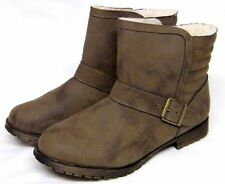 Womens Taupe Faux Leather Fur Lined Pull On Buckle Winter Ankle Boots Uk Size 3