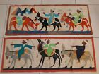 Antique Egyptian Appliqué Hand Woven Textile Wall Hanging Tapestry 2panels good