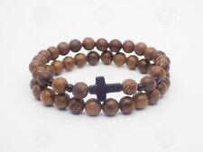 2ac5f705fce6 Cross Sandalwood Bracelet Wooden Christ Beads Jesus Christian Bible Gift s  UK