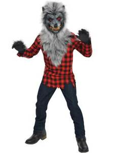 Childs Teen Hungry Howler Werewolf Halloween Wolf Fancy Dress Costume Ages 6-16