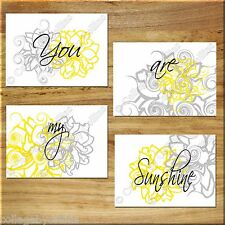 Yellow Gray Modern Floral Wall Art Prints Decor YOU are MY SUNSHINE Inspiration