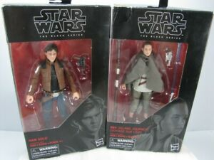 STAR WARS THE BLACK SERIES Action FIGURES  #62 HANS SOLO  #58 REY   LOT OF 2