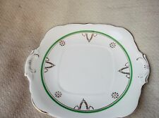 H&K TUNSTALL DECO GILDED GREEN RING GOLD GARLANDS CAKE PLATE 1942B GREAT