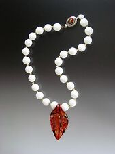 Sale - Bess Heitner White Agate Crimson Gold Venetian Leaf Necklace