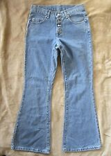 Vintage USA LEE Exposed Button Fly Big Flare Medium Wash Denim Jeans Women's 9