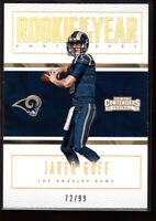 JARED GOFF #72/99 MINT RAMS QB GOLD ROOKIE CARD #12 RC SP 2016 PANINI CONTENDERS