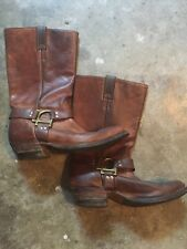 Boulet Biker Boots Men's 9.5 Great Shape Oiled Brown Leather