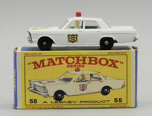 Lesney Matchbox 55C Ford Galaxy Police Car Issued 1966 with Box