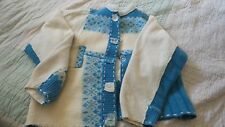OOAK Handmade Patchwork Sweater from Wool Sweaters in a Size M Cream Turquoise