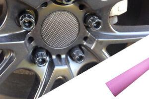 4x Jantes,Jantes en Alliage Volant Couvercle Design Film Charbon Rose Pour