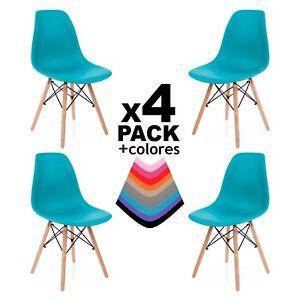 Pack 4 sillas de comedor cocina salón o escritorio, silla diseño nordico Tower