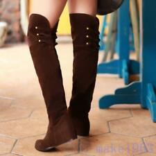 Womens Casual Stylish Flat Over The Knee Thigh High Boots all Size Velvet Wedges