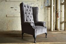MODERN QUEEN ANNE SLATE GREY VELVET CHESTERFIELD WING ARMCHAIR, EXTRA HIGH BACK