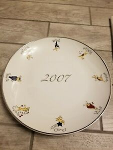 "New Pottery Barn  Reindeer 14"" Round Serving Platter Cookie Plate 2007 Christmas"
