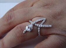 FINE 925 STERLING SILVER LADIES DESIGNERS  RING W/ 4CT DIAMONDS /SZ 5,6,7,8,9