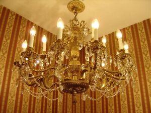 HUGE BRASS 18 LIGHT SPANISH CRYSTAL CHANDELIER OLD CEILING LAMP LARGE FIXTURES