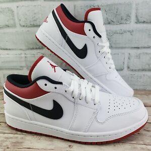 Nike Air Jordan 1 Low White Gym Red Black Mens Size 11 Rare 553558 118