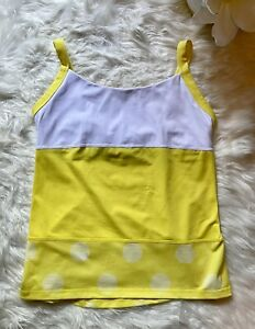 Lululemon Womens Yellow Yoga Polka Dot Running Tank Top Shelf Bra 8
