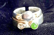 Herkimer, Grey Pearl Ring - Size 8.0 Lilly Barrack Sterling Silver & Gold Jade,