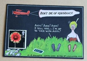 FLOWERS GAILLARDIA 1987 RARE HAND PAINTED 'AIDS DON'T DIE OF IGNORANCE' FDC
