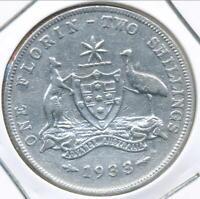 Australia 1933 Florin 2/- George V (Silver) - almost Fine